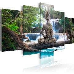 Artgeist Wandbild - Buddha and waterfall