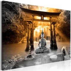 Artgeist Wandbild - Buddha Smile (1 Part) Wide Orange