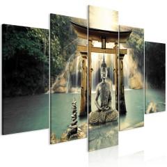 Artgeist Wandbild - Buddha Smile (5 Parts) Wide