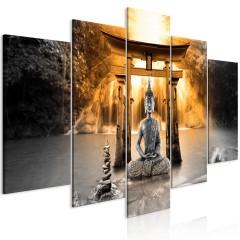 Artgeist Wandbild - Buddha Smile (5 Parts) Wide Orange