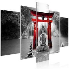 Artgeist Wandbild - Buddha Smile (5 Parts) Wide Red