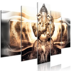 Artgeist Wandbild - Buddha Style (5 Parts) Golden Wide