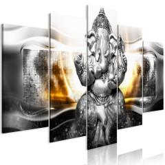 Artgeist Wandbild - Buddha Style (5 Parts) Silver Wide