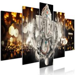 Artgeist Wandbild - Buddha's Philosophy (5 Parts) Silver Wide