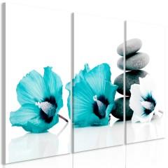 Artgeist Wandbild - Calm Mallow (3 Parts) Turquoise