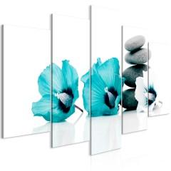 Artgeist Wandbild - Calm Mallow (5 Parts) Wide Turquoise
