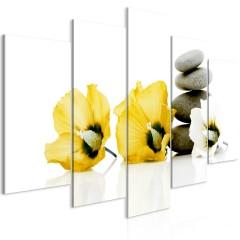 Artgeist Wandbild - Calm Mallow (5 Parts) Wide Yellow