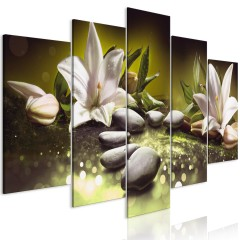 Artgeist Wandbild - Lilies and Stones (5 Parts) Wide Green