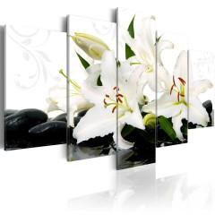 Artgeist Wandbild - Lilies and zen stones