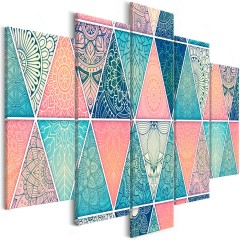 Artgeist Wandbild - Oriental Triangles (5 Parts) Wide