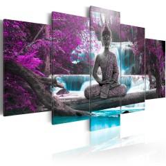 Artgeist Wandbild - Waterfall and Buddha