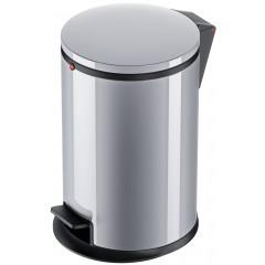 Hailo Pure M, Stahlblech silber, 12 Liter, Inneneimer: Kunststoff, schwarz, Tret-Abfallsammler