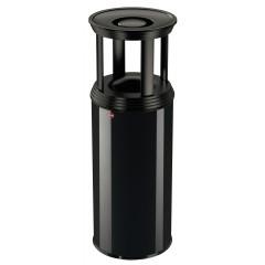Hailo ProfiLine Combi plus XL, 45 Liter, Tiefschwarz, Ascher-Papierkorb-Kombination