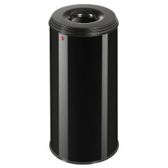 Hailo ProfiLine Safe XL, 45 Liter, Tiefschwarz, Flammenlöschender Papierkorb