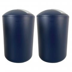 Kosmetikeimer mit Schwingdeckel, Badmülleimer bruchsicher Blau 6,5 Liter, 2er Set