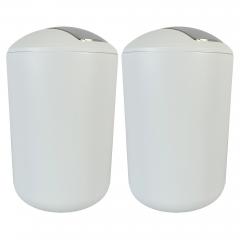 Kosmetikeimer mit Schwingdeckel, Badmülleimer bruchsicher Weiß 6,5 Liter, 2er Set